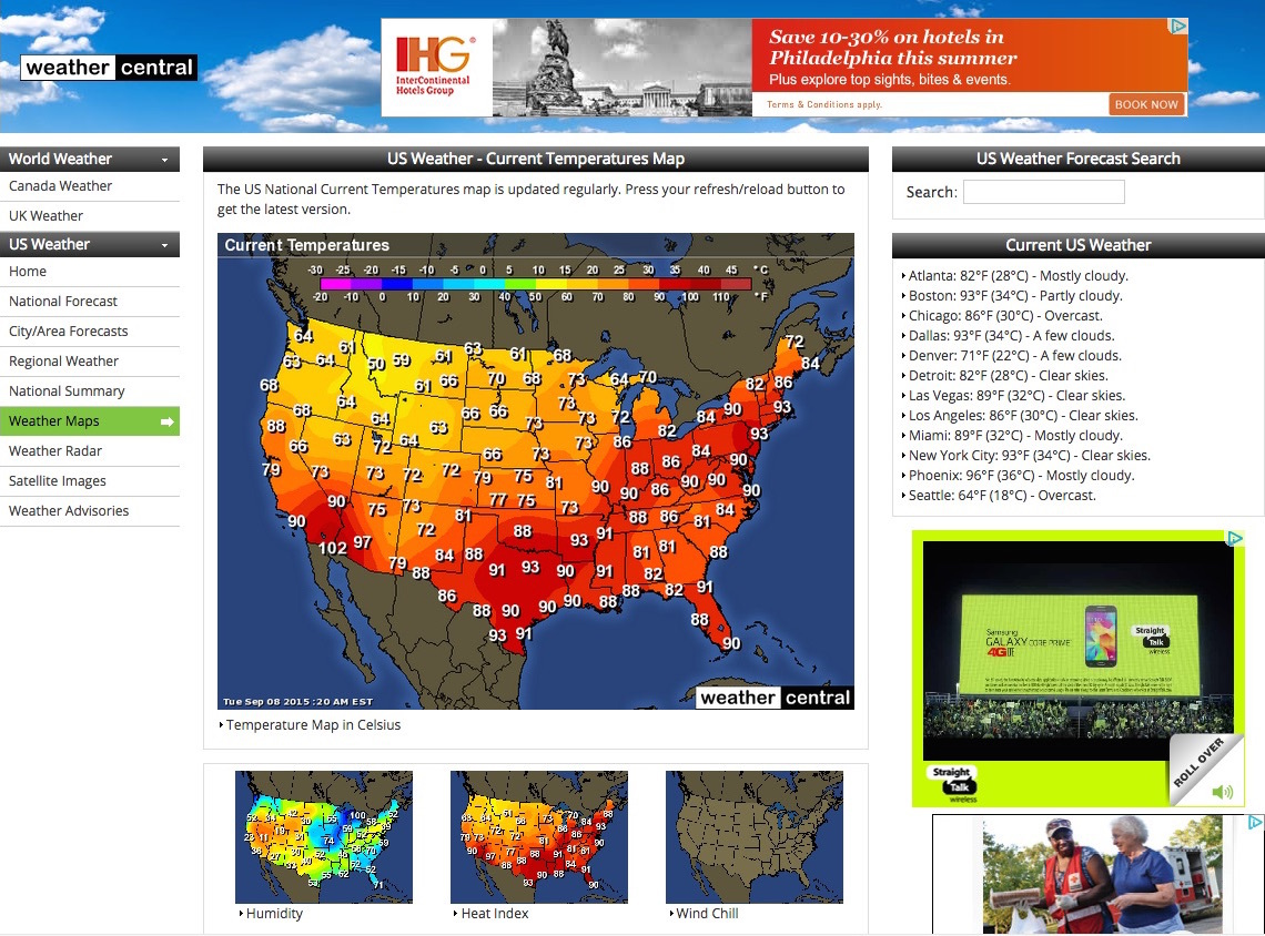 Screen cap: Weather Central webpage