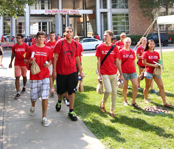Photo: Engineering students walking by Engineering Building