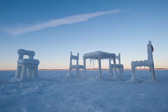 The Winter Sun Sets Behind U201cIce U0026 Snow Furniture Raised From Lake Mendota,u201d  An Art Project By Art Student Hongtao Zhou. Zhou Created The Icy Furniture  On ...