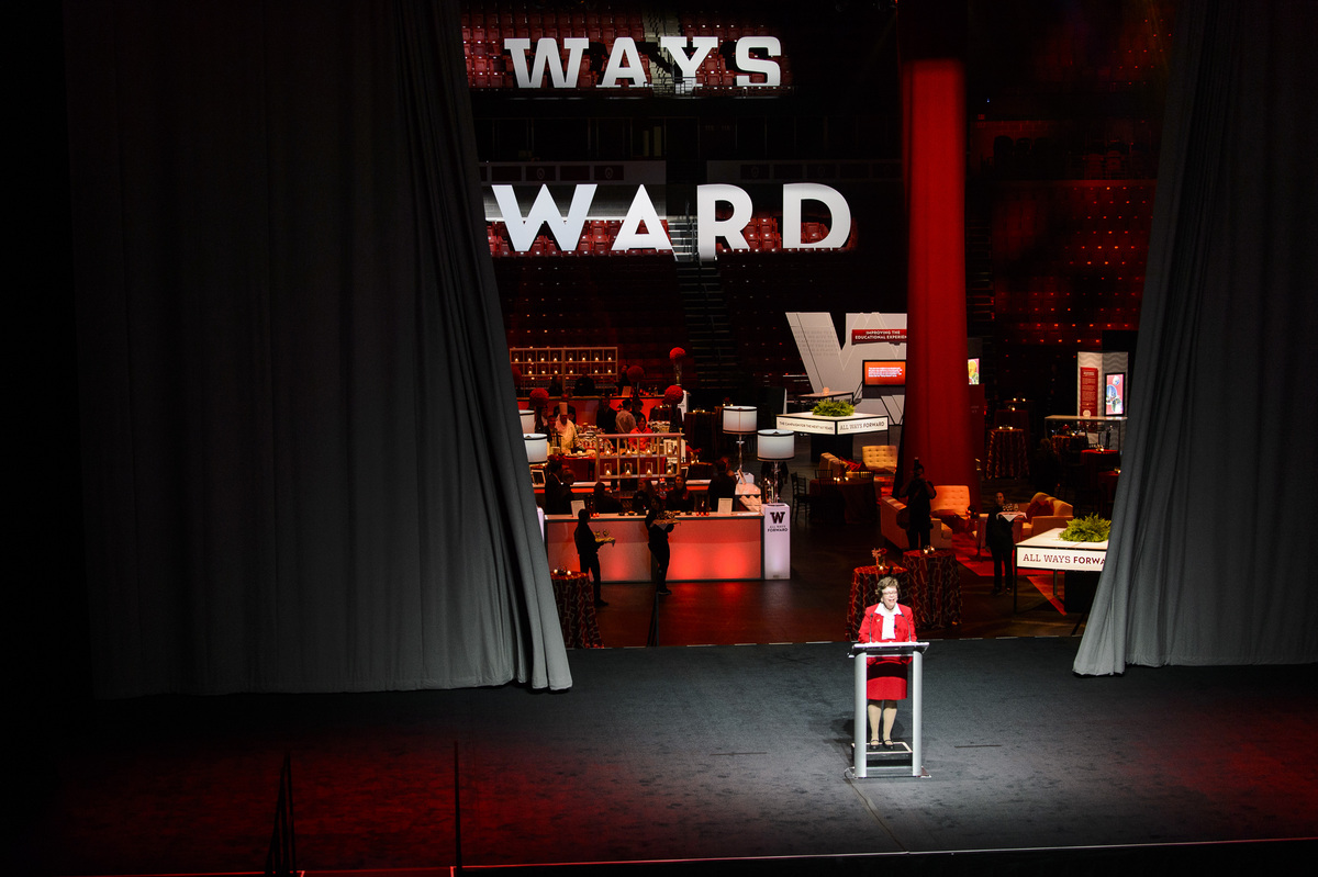 Photo: All Ways Forward banner on Kohl Center stage
