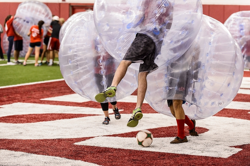 Photo: Students playing bubble soccer