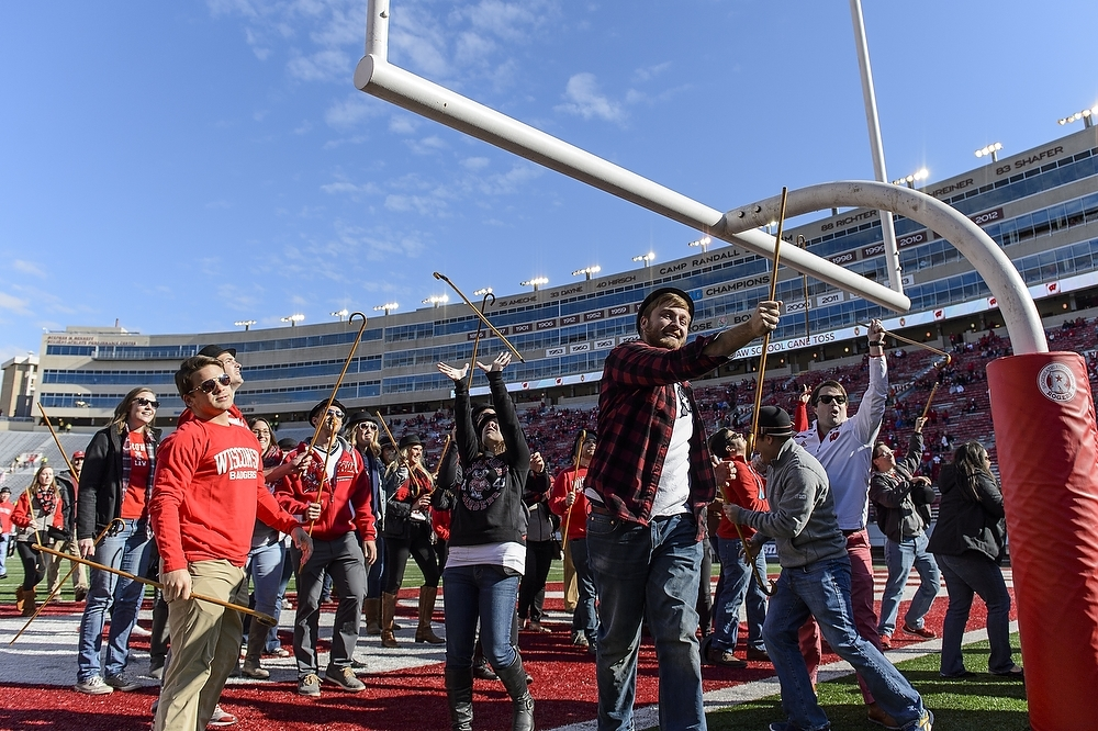 Photo: Law students tossing canes over goalpost