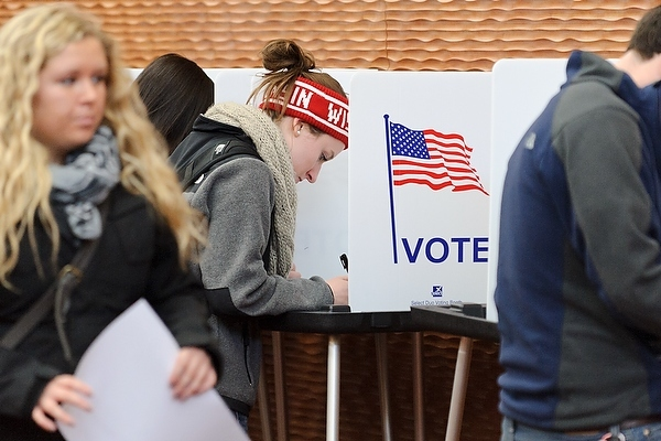 Photo: Students voting at polling place