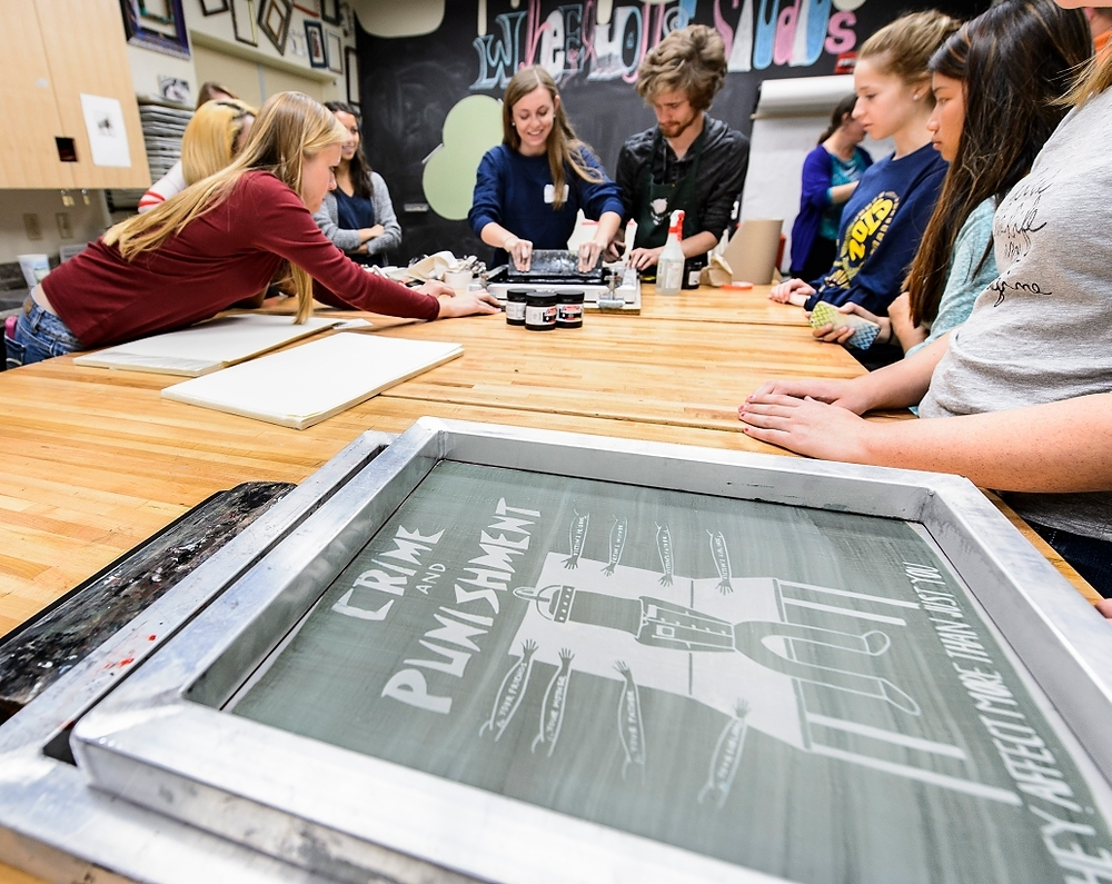 "LEAD students create prints after reading ""Just Mercy"""