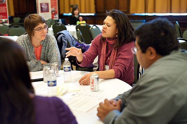 Photo: People discussing topics at Diversity Forum