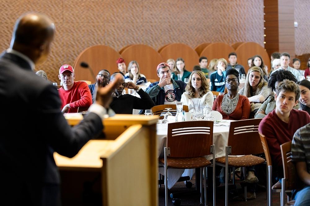 Photo: Students listening to Bryan Stevenson