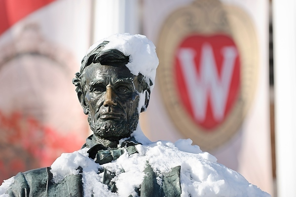 Abe statue covered in snow
