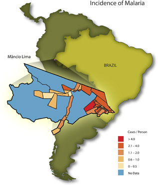 Map image depicting the correlation of malaria with land use in 54 Brazilian health districts deep in the Amazon.