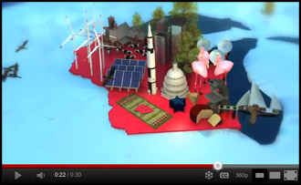 Still from a new commercial featuring some of UW–Madison's greatest contributions to the world.