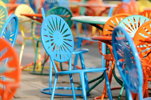 Memorial union terrace adds mendota blue chairs to mark for Mendota terrace