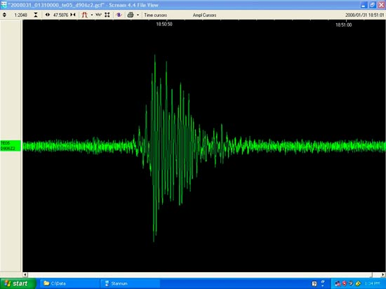 Seismograph from ice quake