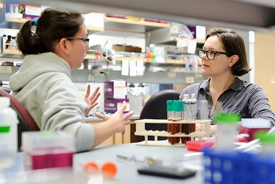 Photo: Audrey Gasch with student in lab