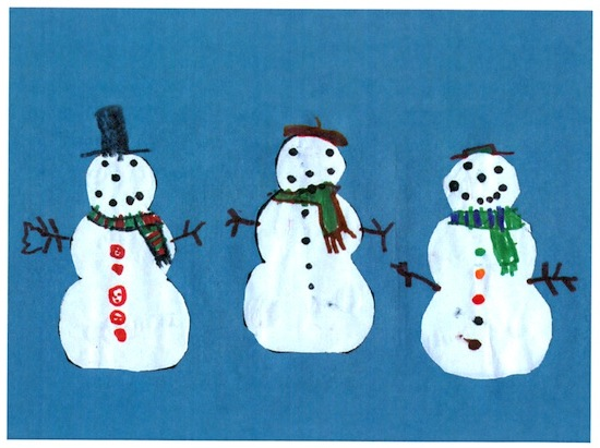 Image: greeting card with snowmen