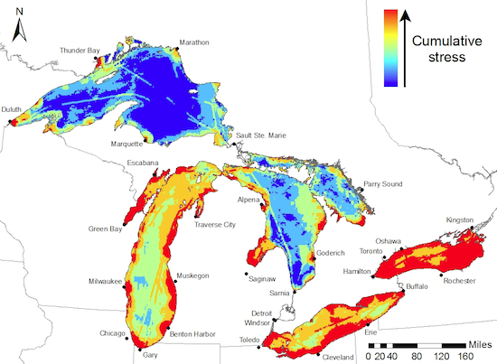 Image: Great Lakes stressors map