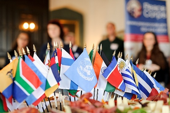 Photo: international flags at Peace Corps event