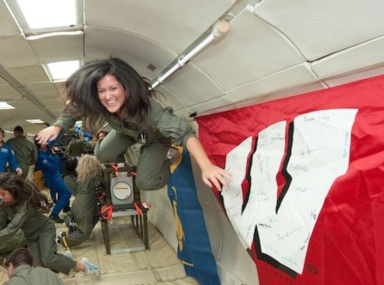 Photo: Julie Mason in zero gravity simulator
