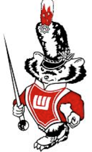 Graphic: cartoon Bucky Badger in band uniform