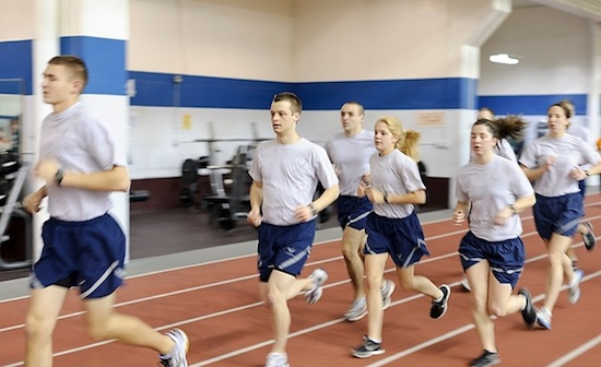 Photo: ROTC cadets running on track