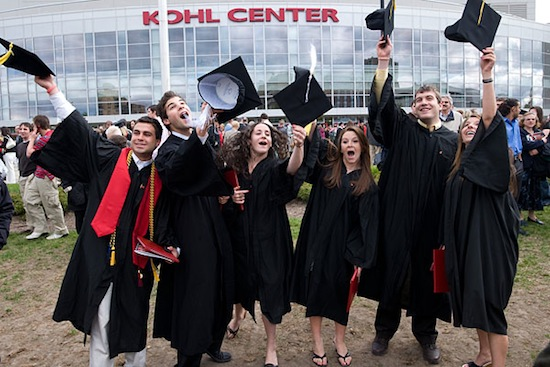 Photo: 2008 graduates outside Kohl Center