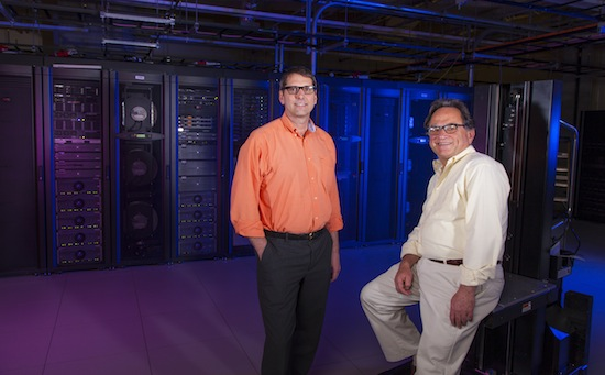 Photo: Brooklin Gore and Myron Livny in server room
