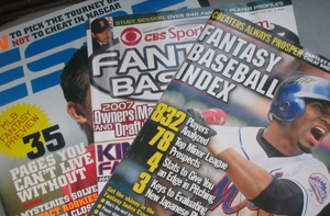 Photo of magazines dedicated to or showing lead stories about fantasy sports.