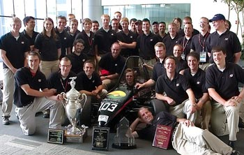Formula race team and their trophy