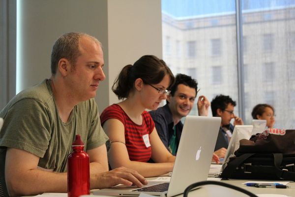 Photo: attendees at Humanities Hackathon