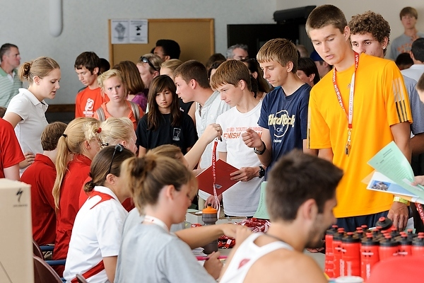 Photo: students checking in for track camp