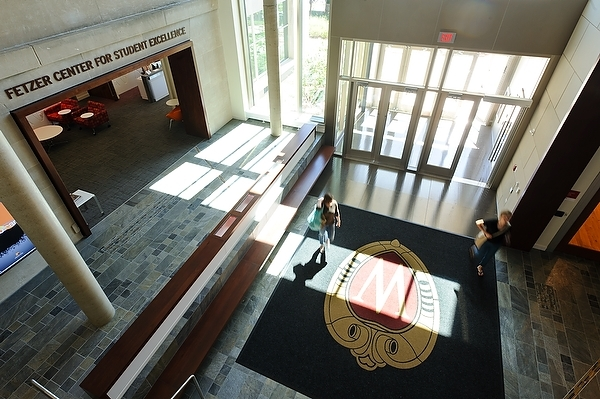 Photo: inside main entrance to Nancy Nicholas Hall