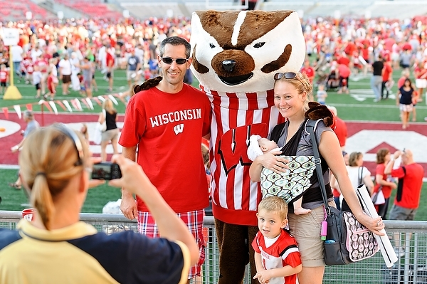 Photo: family posing with Bucky Badger