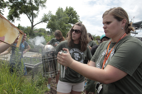 Photo: volunteers using beekeeping smoker