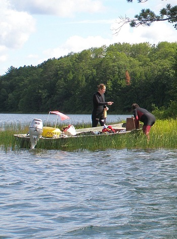 Photo: divers preparing for plant survey