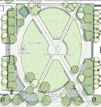 Diagram: map of proposed Library Mall design