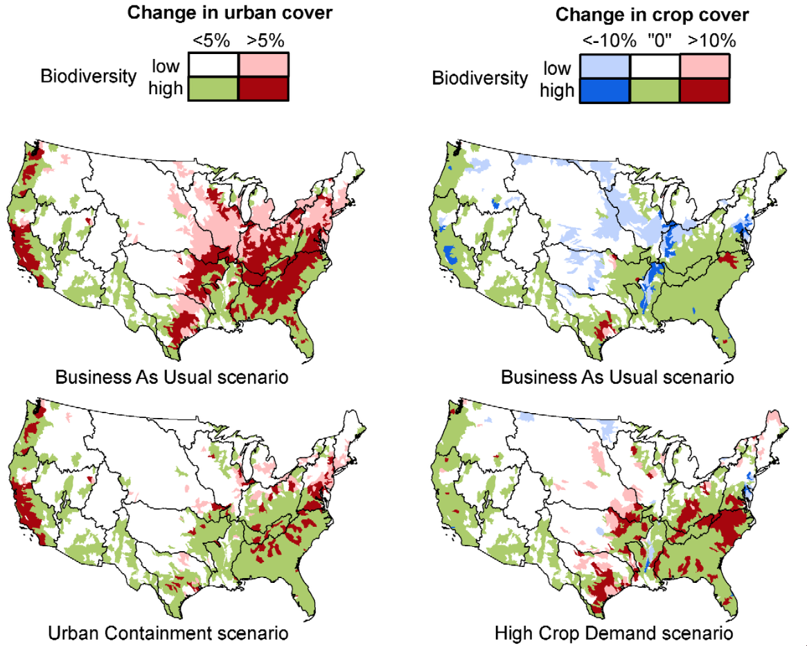 Maps: biodiversity impact of development and cropping policies