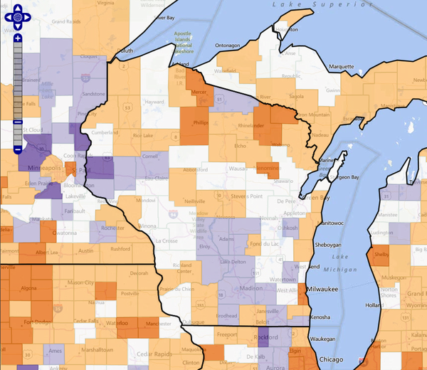 Map: Wisconsin counties by population migration