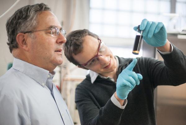 Photo: UW-Madison researchers James Dumesic (left) and Jeremy Luterbacher