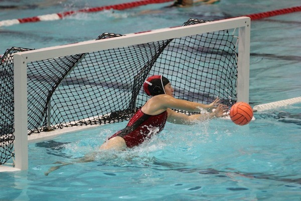 Water polo goalie at work