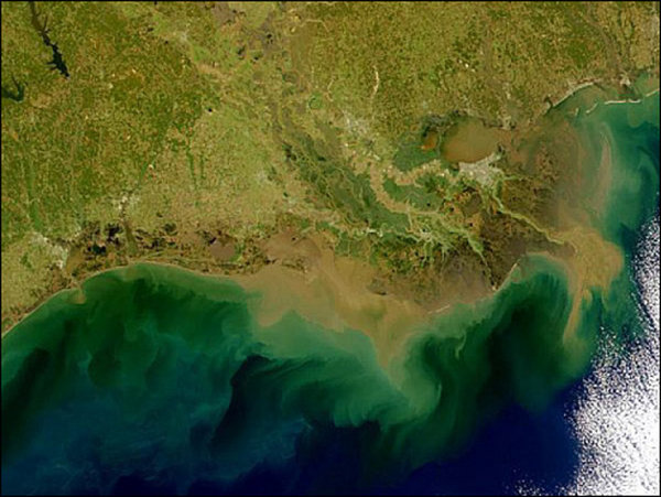 Photo: aerial view of Gulf of Mexico dead zone