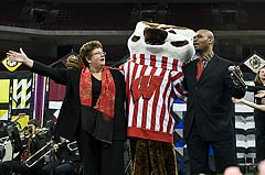 Photo of Chancellor Martin giving address at Kohl Center