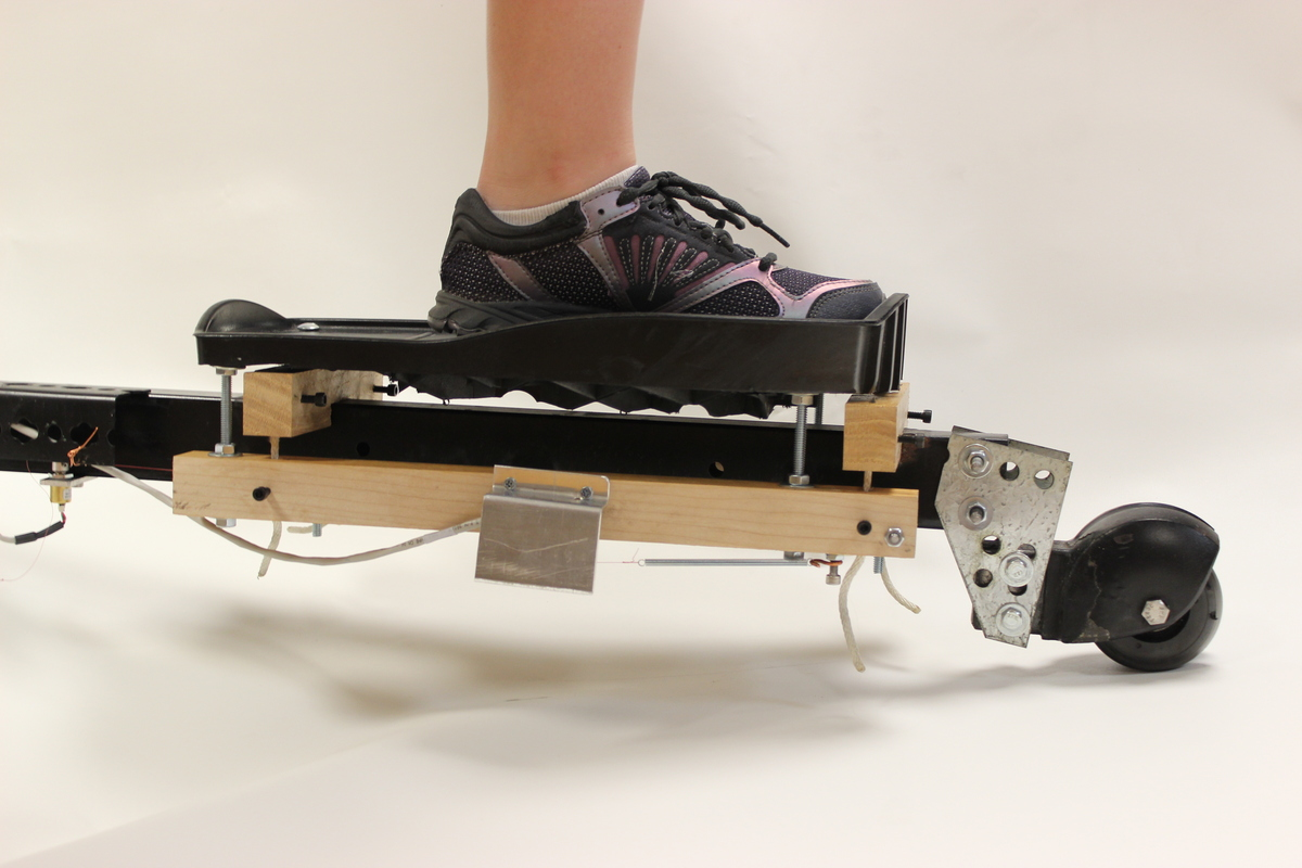 Photo: foot on coordination-retraining device