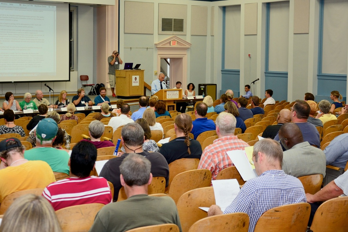 Photo: Meeting of Classified Staff Congress in Bascom Hall