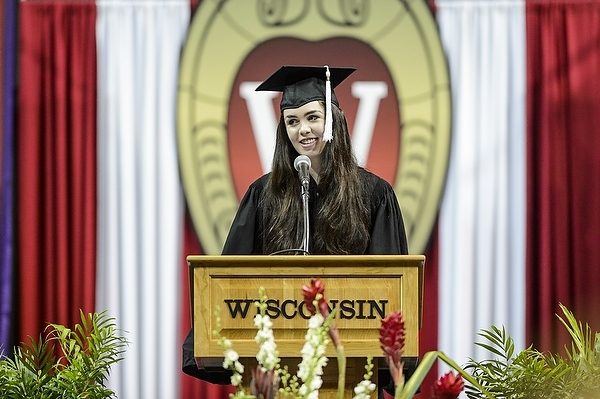 Photo: Jacqui Geringer addresses incoming freshmen and transfer students