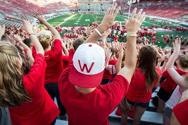 Photo: Students in Camp Randall Stadium