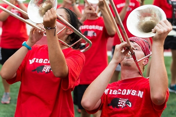 Photo: Members of Marching Band wearing red shirts