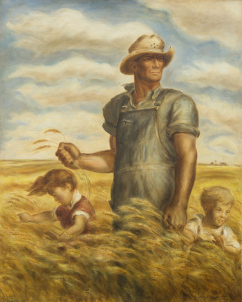 Our Good Earth, oil on hardboard, 1942.