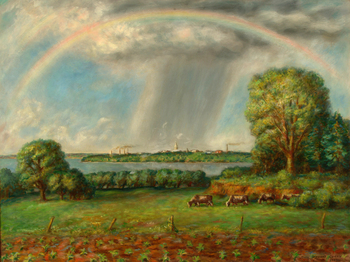 View of Madison with Rainbow, Oil on canvas, 1937