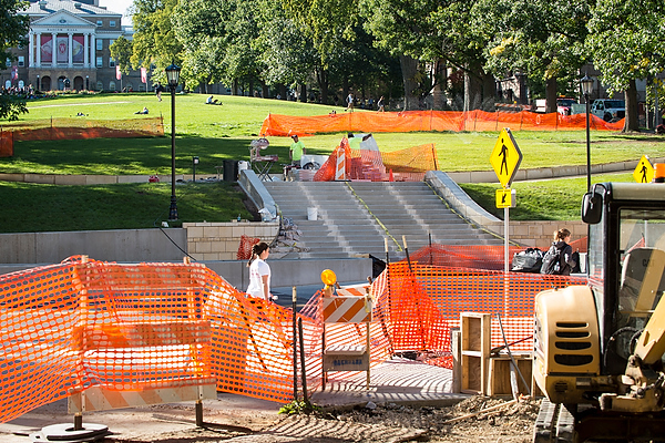 Photo: Construction of staircase leading up Bascom Hill