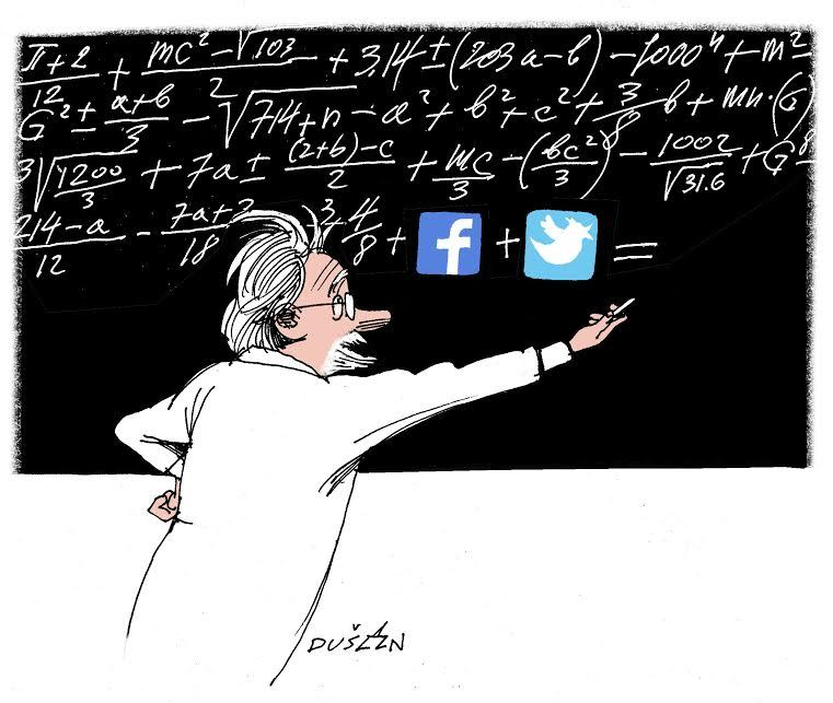 Illustration: Professor in white coat writing on blackboard