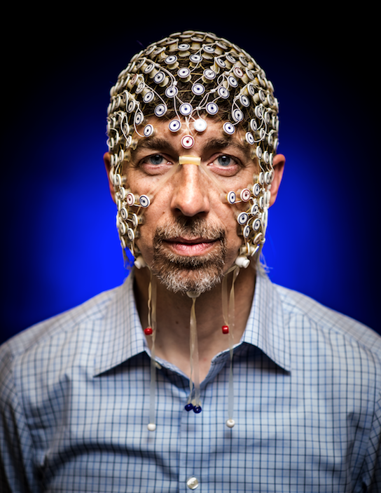 Photo: Barry Van Veen with sensors attached to head
