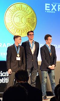Photo: Taylor Fahey, Charles Haider, Cedric Kovacs-Johnson (left to right) receive their award.